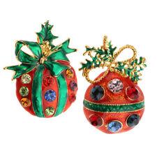 Rhinestone Brooch Pin & Jewelry Pendant 2pcs Elegant Charm Xmas Fruit Shaped