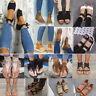 Womens Sandals Flat Wedge Strappy Espadrilles Peep Toe Beach Flip Flops Shoes