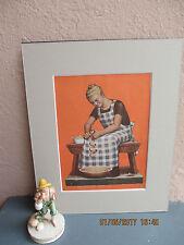 vintage illustration of woman peeling apples by Grant Wood 1936
