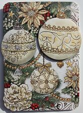 *PUNCH STUDIO Set of 4 Gold Foil 3D Dimensional Christmas Note Cards ~ Ornaments