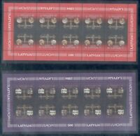 Latvia Sc 379-80 1994 Europa  coins money stamp sheets mint NH Free Shipping