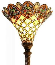 """Antique Tiffany-style Arielle Torchiere Lamp Tiffany Glass Lamps Torch Floor 72"""""""