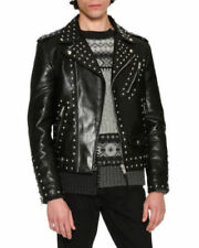 New Mens top brand Black Cowhide Leather Silver Studded Jacket all size