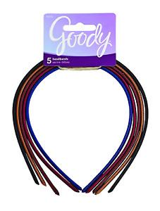 Goody Women's Classics Shoestring Fabric Headband, 5 Count hairband , 1 Pack