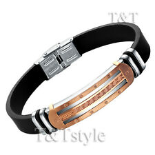 TTstyle Rose Gold Stainless Steel Greek Pattern Bangle