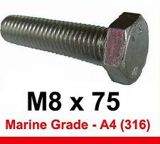 M8 X 75 de grado marino de acero inoxidable Pernos 8 mm x 75 mm de cabeza hexagonal X5 (a4/316)
