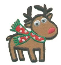 Christmas Holiday Rudolph the Red Nose Reindeer Embroidery Patch