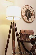 Tripod FLOOR Shade LAMP Rustic marine vintage look light Solid Teak Hardwood