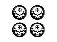 Iron Maltese Cross Biker Skull - Wheel Center Cap 3D Domed Set of 4 Stickers