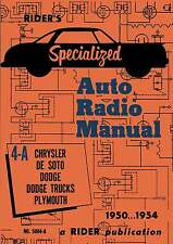 Riders Specialized Auto Radio Manual 4-A * De Soto * Chrysler * CDROM * PDF