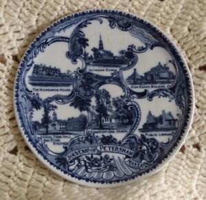 MASSACHUSETTS MASS, Petersham Antique Flow Blue Souvenir Plate Wheelock England