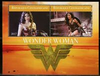 CENTRAL AFRICA 2017 WONDER WOMAN  SHEET OF TWO MINT NEVER HINGED