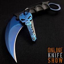 TACTICAL COMBAT KARAMBIT NECK KNIVES Survival Hunting Fixed Blade BLUE SKULL NEW