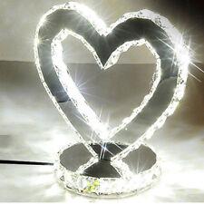 Heart Shaped 24W LED Crystal Table Lights Bedside Lamp Wedding 1996