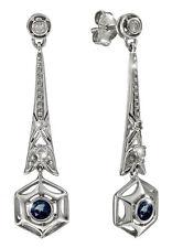 Hinreißende Art Deco Ohrringe Saphire Brillanten Silber