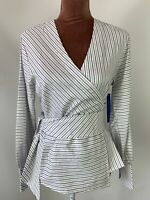 Harpenne White Balloon Sleeves Boho Wrap Fit Blouse Shirt Top Size 14 Work Chic