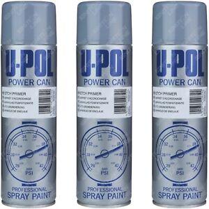 3 x Isopon U-Pol Powercan Etch Primer Grey Spray Paint Aerosol 500ml