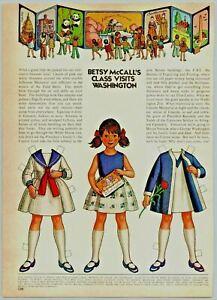 1972 McCalls Paper Dolls Betsy McCall Class Visits Washington Print Ad
