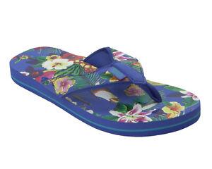 WOMENS URBAN BEACH BLUE TROPICAL SUMMER BEACH FLIP FLOPS SANDALS LADIES SIZE 3-8