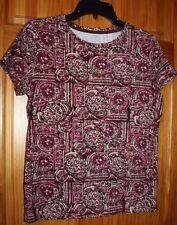 St. John's Bay M Pink/Purple Geometric Classic Tee Cap Sleeve Top 100% Cotton
