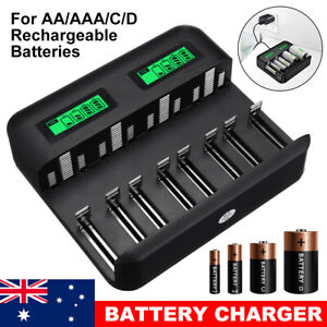 8 Slot Smart Battery Charger for AA/AAA/C/D Rechargeable Batteries LCD Display