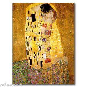 "Art Nouveau Gustav Klimt  The Kiss Giclee Canvas Print 24""x36"""