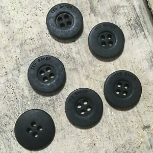 6 x Ted Baker Genuine Branded Replacement Black Circular Buttons 1.7cm