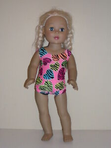 "Animal Striped Hearts Swimsuit  for 18"" Doll Clothes American Girl"