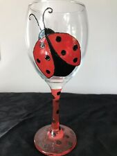 Ladybird Ladybug  Hand Painted Large Washable Wine Glass Spotted Stem Gift UK
