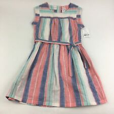 NWT Carters 4 Linen Dress 4T Spring Summer Tunic Red White Blue Patriotic Girls