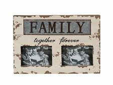 "Handmade Antique Family Together Forever Metal/Wood Chunky Photo Frame 10.25""H"