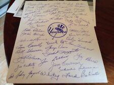 NEW YORK YANKEES 1950S PRINTED AUTOGRAPH SHEET MLB BASEBALL MICKEY MANTLE