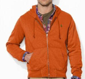 Polo Ralph Lauren Men's S Burnt Orange Zip hoodie Sweater cotton Long Sleeve New