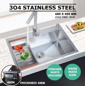 680x450mm Handmade Stainless Steel Under / Top mount Kitchen Laundry Single Sink
