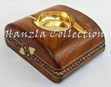Handmade Wooden Brass Ashtray Vintage Cigarette / Cigar Smoking Designer Ashtray