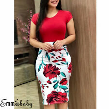 Ladies Summer Boho Floral Short Sleeve Long Maxi Dress Party Beach Sundress US