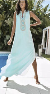 Lilly Pulitzer JANE MAXI DRESS Whisper Blue Embroidered Gold 16 NWT $298