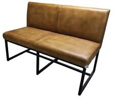 Leather Dining Bench with Back - Metal Iron Legs - Length 123cm / 4'