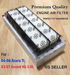 Engine Air Filter For Honda Accord 03-07 & Acura TL 04-06 V6,17220-RCA-A00