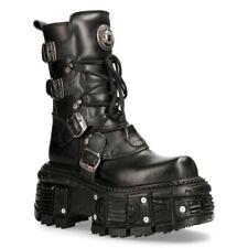 NEW ROCK BOOTS TANK373-S1 Black Leather Unisex Combat Platform Biker Goth Shoes