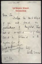 1902 EDINBURGH, A/ Letter Arthur Dewer, Lord Dewer, Liberal M.P. & Judge