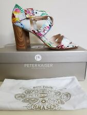 Peter Kaiser Katie Wood Heel Sandals Size UK 8 EUR 42 White Floral Tropical