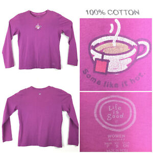 Life is Good Womens Small (40in Bust) Purple 'Some Like it Hot' Coffee T-Shirt