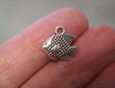10 Fish Charms, Fish Pendants - Antique Silver - 13mm