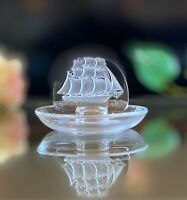Lalique  Clipper Ship Ring Dish Mint Guaranteed Signed Authentic