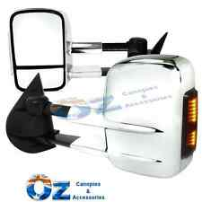 Toyota Prado 150 Series Retractable Towing mirror PAIR CHROME w/CLEAR indicator