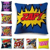 OK-BANG-POP-YAY-ART-ZAP Cotton Linen Throw Pillow Case Cushion Cover Home Decor