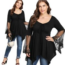 New Ladies Black Top With Lace Cuffs Plus Size 16/3XL (1165)PG