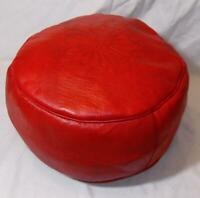 Fair Trade Red Leather Pouffe Footstool New Handmade From Marrakesh Morocco