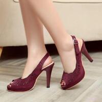 Women's Sandals Shoes Pumps High Stiletto Heel Open Toe Slingbacks Hollow Out #S